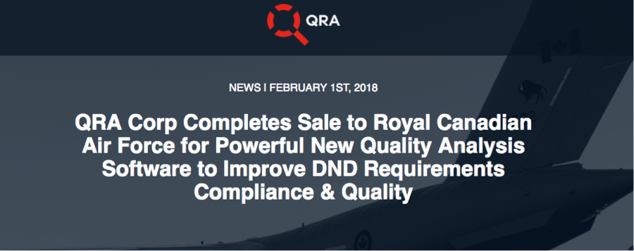 DNS Member QRA Corp Completes Sale to Royal Canadian Air Force!
